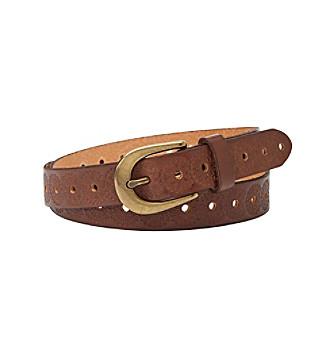 Fossil® Brown Floral Embossed Belt