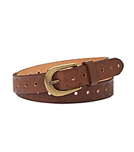 Fossil® Brown Floral Embossed Belt