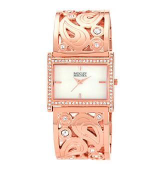 Badgley Mischka® Swarovski Crystal Accented Rose Goldtone Rectangular Bangle Watch