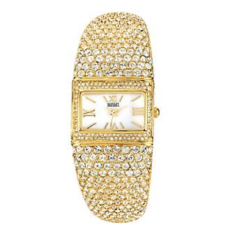 Badgley Mischka® Women's Swarovski Crystal Accented Goldtone Rectangular Bangle Watch