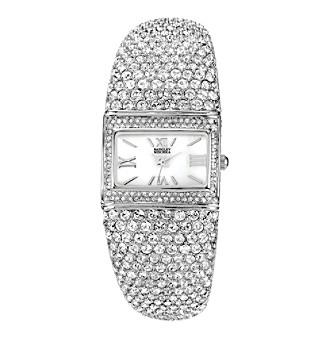 Badgley Mischka® Swarovski Crystal Accented Silvertone Rectangular Bangle Watch