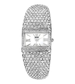 Badgley Mischka® Swarovski Crystal Accented Silvertone Rectangular Bangle Watch
