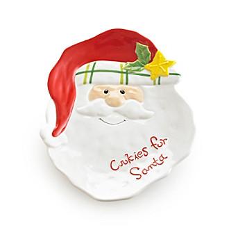 LivingQuarters Merry & Bright Santa Platter