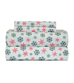 Pointehaven Heavy-Weight White Snow Flakes Printed Flannel Sheet Set