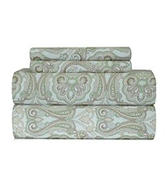 Pointehaven Heavy-Weight Paisley Printed Flannel Sheet Set