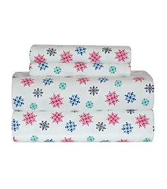 Pointehaven Heavy-Weight Multi-Colored Snow Flakes Printed Flannel Sheet Set