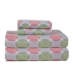 Pointehaven Heavy-Weight Starburst Printed Flannel Sheet Set