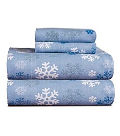 Pointehaven Heavy-Weight Dusty Blue Snow Flakes Printed Flannel Sheet Set