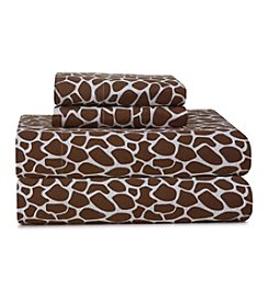 Pointehaven Heavy-Weight Chocolate Giraffe Printed Flannel Sheet Set
