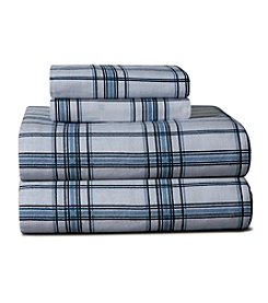 Pointehaven Heavy-Weight Blue Plaid Printed Flannel Sheet Set