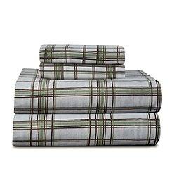 Pointhaven Heavy-Weight Sage Plaid Printed Flannel Sheet Set