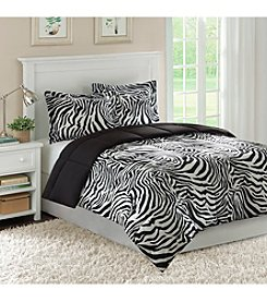 Home Essence Safari Bright Zebra Microfiber Down-Alternative Comforter Mini Set