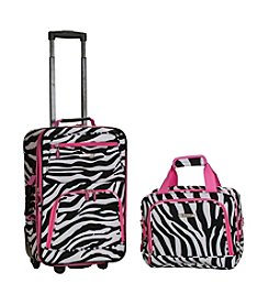 Rockland 2-pc. Pink Zebra Luggage Set