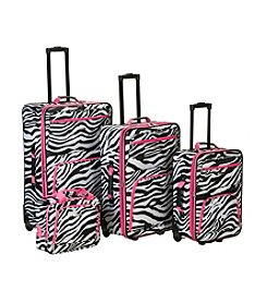 Rockland 4-pc. Pink Zebra Luggage Set