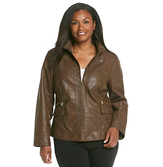 Gallery Plus Size Faux Leather Scuba Jacket With Wing Collar Women's