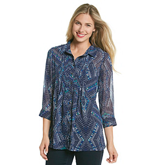 Fever™ Blue Multi Speckled Patterned Pleated Woven Shirt