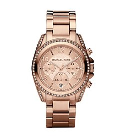 Michael Kors® Rose Goldtone Blair Chronograph Watch with Clear Stones on Top Ring and Lugs