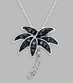 .12 ct. t.w. Green Diamond Palm Tree Pendant in Sterling Silver