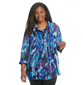 Fever™ Plus Size Printed Pleated Blouse with Cami