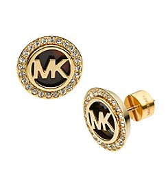 Michael Kors® Goldtone MK Stud Earrings with Tortoise and Clear Pavé