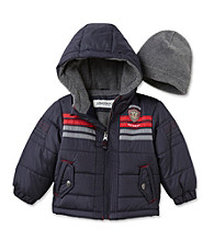 London Fog® Baby Boys' Navy Chest Stripe Bubble Jacket