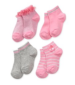 Little Miss Attitude Toddler Girls' Pink/Grey Lurex Crew Socks