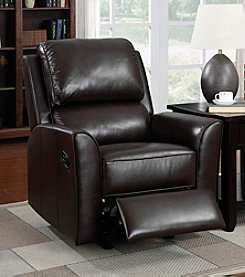 PRI Brandy Chocolate Leather Match Rocker Recliner