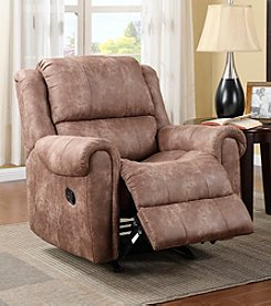 PRI Amarillo Cognac Fabric Rocker Recliner