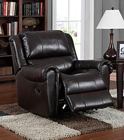 PRI Marchelle Chocolate Leather Match Rocker Recliner