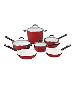 Cuisinart® Elements 10-pc. Red Ceramic Cookware Set + FREE Stainless Steel Bowls