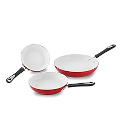 Cuisinart® Elements Red Ceramic Nonstick Skillet Triple Pack