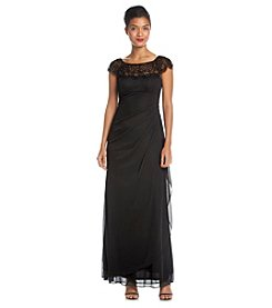 Xscape Beaded Top Long Cocktail Dress