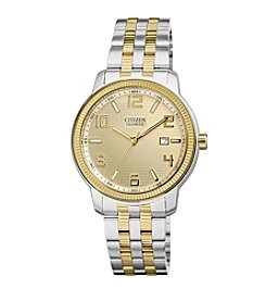 Citizen® Quartz Silvertone and Goldtone Men's Day Date Watch