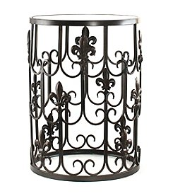InnerSpace® Dalton Home Collection Barrel Table with Fleur-De-Lis