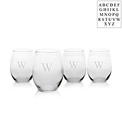 Cathy's Concepts Personalized Set of 4 Stemless White Wine Glasses