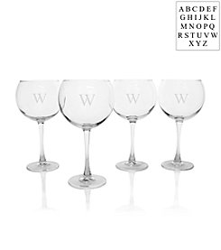 Cathy's Concepts Personalized Set of Four Stemmed Red Wine Glasses