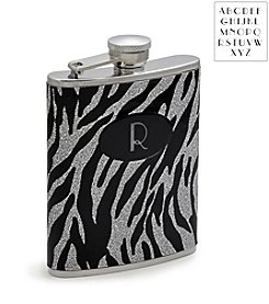 Cathy's Concepts Personalized Zebra Glitter Flask