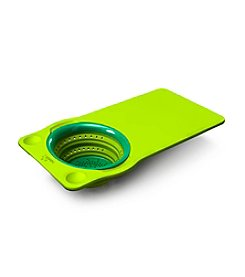 Squish Over the Sink Green Cutting Board with Colander