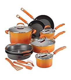 Rachael Ray® 15-pc. Orange Porcelain Hard Enamel Nonstick Cookware Set
