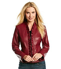 Gallery® Faux Leather Ruffle Front Scuba Jacket