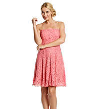 Adrianna Papell® Lace Fit and Flare Strapless Dress