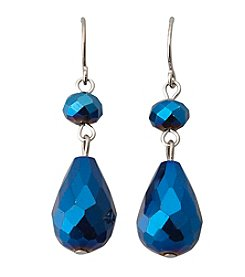 BT-Jeweled Blue Two Bead Drop Earrings