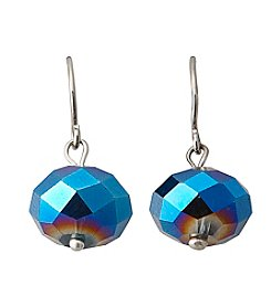 BT-Jeweled Blue Beaded Drop Earrings
