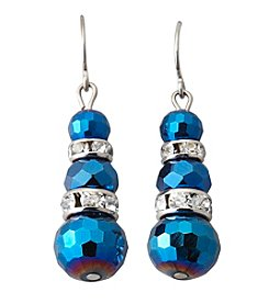 BT-Jeweled Blue Three Beaded Drop Earrings