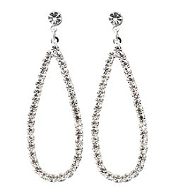 BT-Jeweled Crystal Open Teardrop Earrings