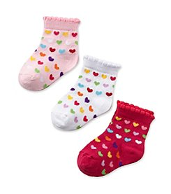 Cuddle Bear® Baby Girls' Pink 3-pk. Lovely Heart Socks