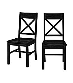W. Designs Set of 2 Black Solid Wood Dining Chairs