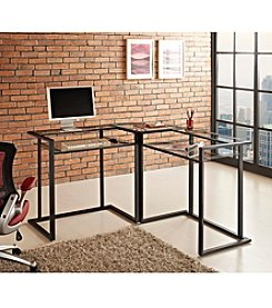 W. Designs Glass and Metal C-Frame Corner Computer Desk