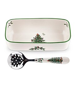 Spode® Christmas Tree Cranberry Server With Slotted Spoon