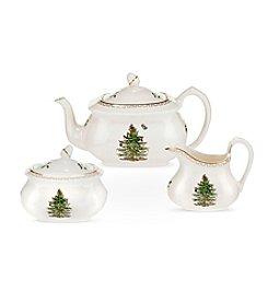 Spode® Christmas Tree Gold Collection Tea Set With Teapot, Sugar Bowl And Creamer